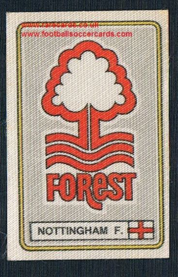 1979 Panini Football 79 silk sticker w backing paper, near new 279 Nottingham Forest